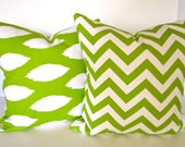 PILLOW COVERS Set Of 2 Chevron 16x16 Decorative Throw Pillows Chartreuse Green 16 x 16 Pillow Covers