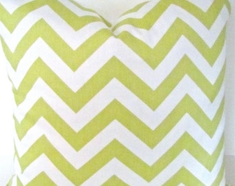 CHEVRON PILLOW Covers Decorative Throw Pillows LIME Green Chevron Pillows 16x16 18 20 Citron Throw Pillow Covers .Sale. Fabric Front & Back