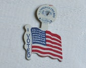 """Vintage 1950s Tin Political """"I Voted"""" 48 Star Flag Lapel Pin,Vintage Election, Free Shipping in USA"""