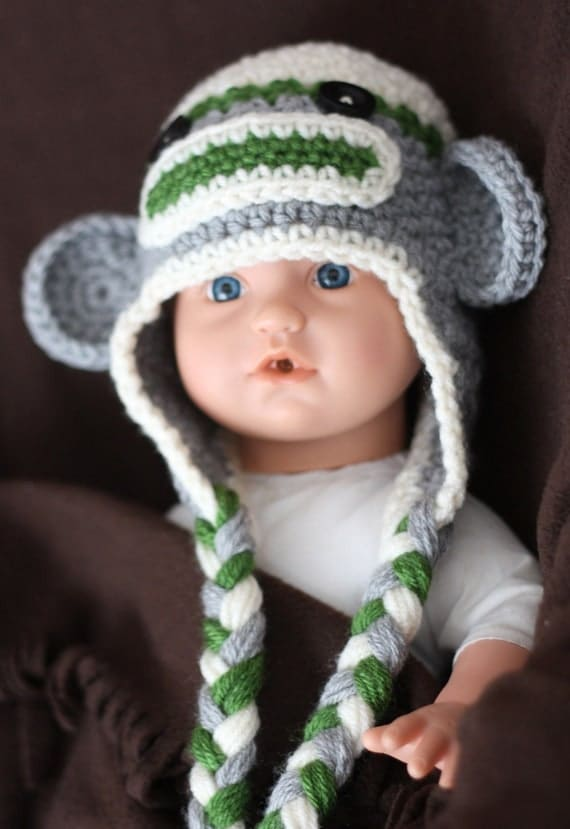 Crochet Sock Monkey Hat / Baby Hat with Earflaps / Green, Grey and White (Ready to Ship)