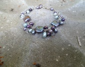 Estrella - Garden Party bracelet - Bridal - Semiprecious stones and cultured pearls on sterling silver