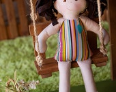 CHESTNUT CHELSEA is a Girl Rag Doll with doll Tutu, Waldorf and Vintage Inspired Modern Rag Doll, Toy