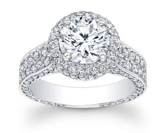 Ladies 18kt white gold pave diamond halo engagement ring with 2ct round white sapphire 1.60 ctw G-VS2 diamonds