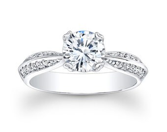 Ladies 14kt antique diamond engagement ring with 0.25 carats G-VS2 diamond and 1ct Round White Sapphire
