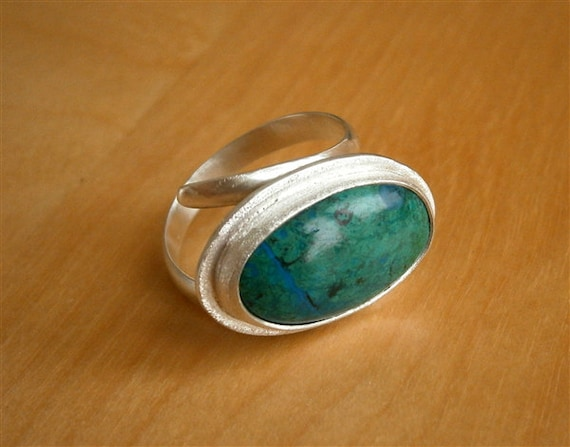 Chrysocolla Silver Ring, Green Turquoise Ring, Gemstone Silver Ring, Special Offer, by Pepa Moyano