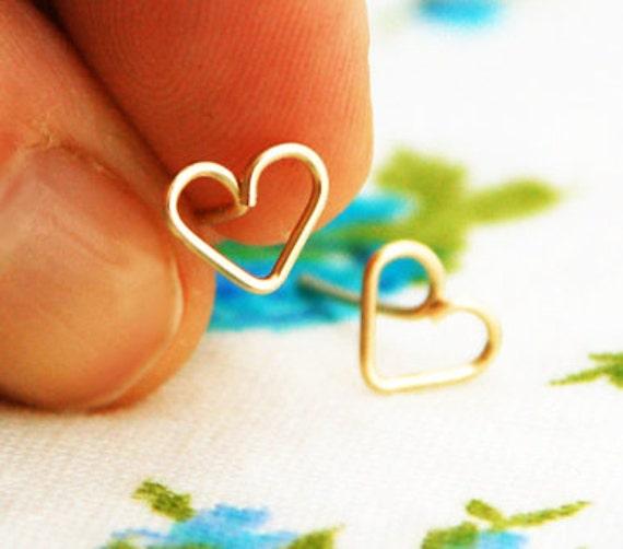 Tiny heart stud earrings, silver stud earrings, 14k gold stud earrings, gold earrings, small heart earrings, gold heart, bridesmaid gift