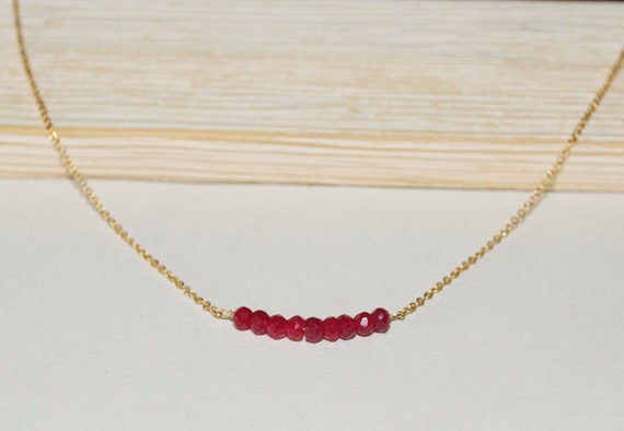 Ruby Bar Necklace, Minimalist Jewelry, Valentine's Gift