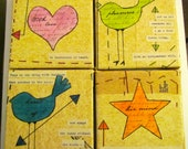 RESERVED- Mixed Media - Original Canvas - Birds, Heart & Star - Collage Art - Quotes