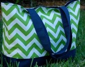 Large Green Chevron and Navy Tote Bag