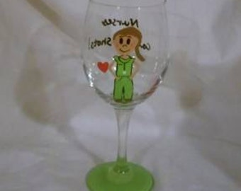 Hand Painted Nurses Large 20 ounce Wine Glass