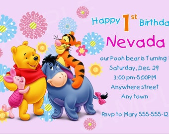 winnie the pooh invitations, Birthday card