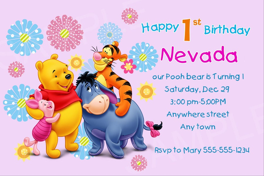 items similar to winnie the pooh birthday party printable  winnie, Birthday invitations