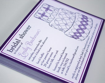 "Contemporary Bridal Shower Cake Invitations - 5 X 7"""