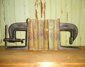 Pair of Industrial C-Clamp Bookends Cast Steel Welded