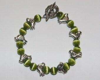 Green Cats Eye Bracelet with Birds.
