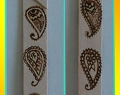 Natural wooden bookmark - paisley pattern pyrographed onto the wood