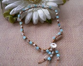 Boho, Surfer, Hippie-chic, Beachy -JUST BREATHE- Single strand Anklet beaded