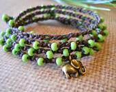 Boho crochet wrap bracelet anklet, necklace,good luck, bohemian, hippie chic -PEA SOUP- wrapped, bracelet