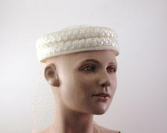 Vintage Wedding Cream White Pillbox Hat circa 1950's - 60s