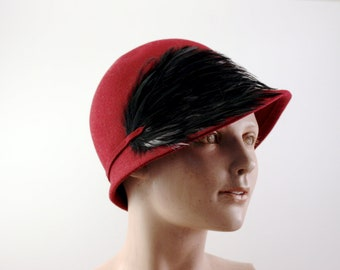 15 PERCENT off Vintage Burgundy Betmar Cloche With Black Feathers 100% Wool circa 1960's - 1970's