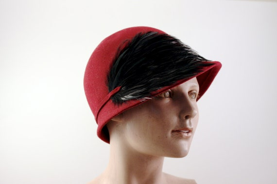 15% OFF off Vintage Burgundy Betmar Cloche With Black Feathers 100 Percent Wool circa 1960's - 1970's