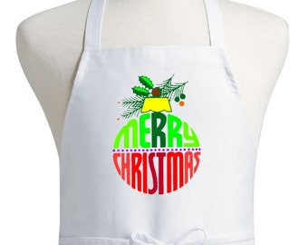 Merry Christmas Apron White Holiday Cooking Aprons