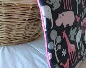 Waterproof Baby Massage Mat / Change mat- Pink (or blue) Safari Animals design