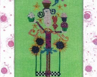 SALE Amy Bruecken Cupcake Girl Cross Stitch Pattern