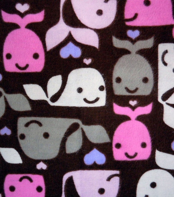 Baby girl whale flannel fabric pink gray and white whales for Whale fabric