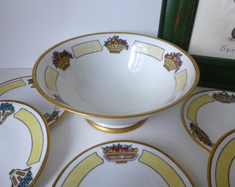 Fabulous Limoges Art Deco Fruit Bowl and set of plates! c 1913