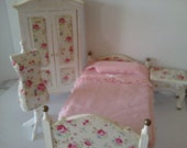 Dolls house bedroom set shabby chic style with single bed wardrobe bedside table painted white miniature furniture