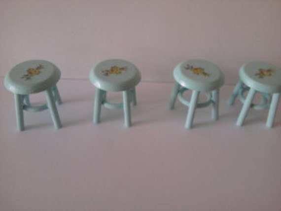 Dolls house miniature green set of 4 stools