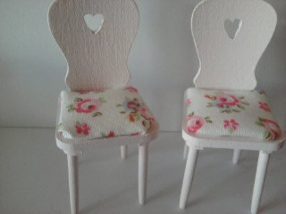 Reserved for pat doll house chairs pink with Cath Kidston fabric kitchen dining room miniature furniture