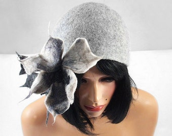 Felted Hat Retro Hat Cloche grey Flatter hat Art Deco wool hat wearable art wool felt nunofelt nuno felt silk eco fiber art