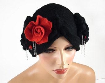 Felted Hat Geisha Hat Nunofelt Art Hat Retro Art Hat Art Deco Rose wool hat wearable art wool felt nunofelt nuno felt silk eco fiber art