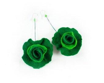 Felted Earrings Green earrings Roses Earrings Jade felt nuno flower nunofelt silk folk boho wool fairy