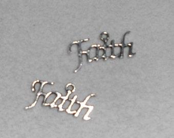 "Silver ""Faith"" saying Charms"