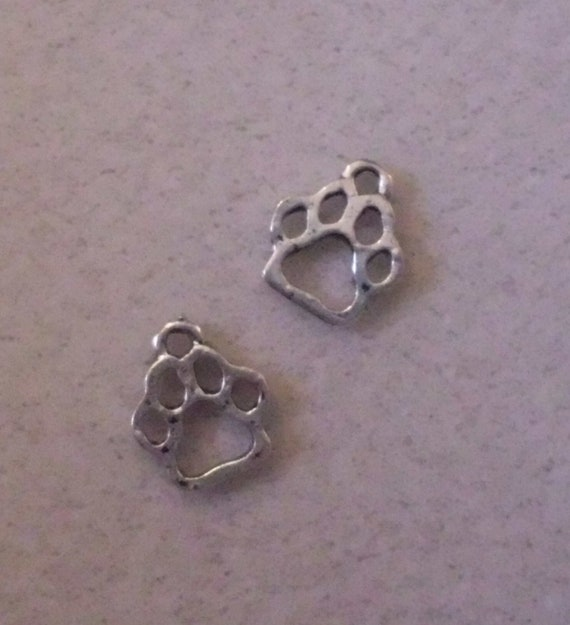 Silver Dog Cat Paw Print Charms