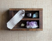 extra large crystal point, amethyst cluster and stone set in handmade curio shelf