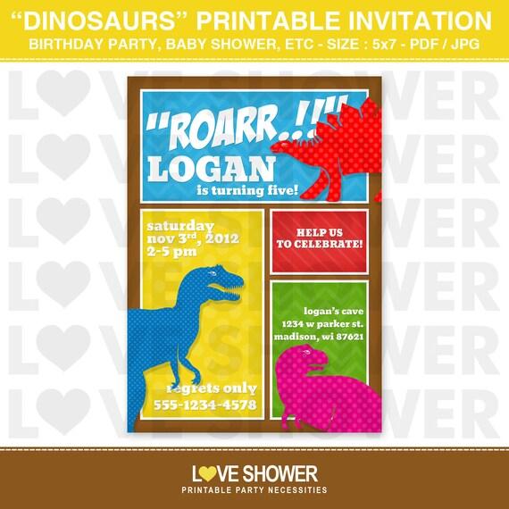 dinosaurs dino mite printable birthday invitation by love shower