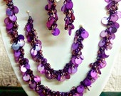 Purple Shaggy Loop Chain Maille Necklace, Earrings, Bracelet Set