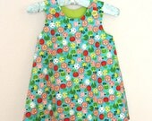 SALE LAST ONE 3T Toddler Party Dress Apple Print in Teal Pink Lime Jumper or A-Line Sundress