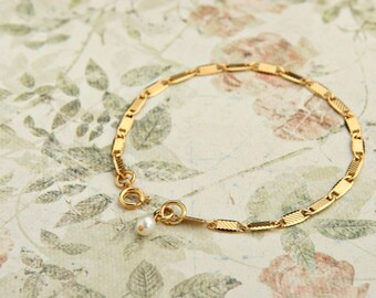 Dainty gold bracelet Delicate Gold Chain Layered gold filled Bracelet bridesmaid gift.