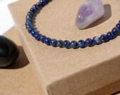 4mm blue Lapis beaded bracelet