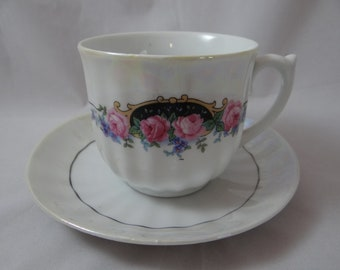 1950s Vintage Pink Rose German Teacup and Saucer Tea Cup