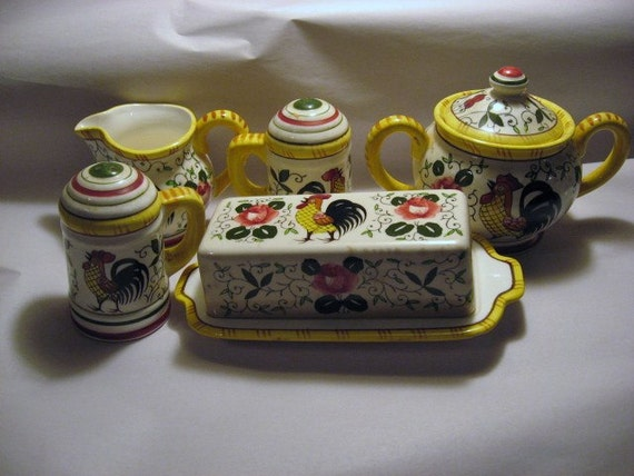 5 Pc Lot PY Ucagno Rooster and Roses China Butter Dish Sugar Creamer Salt and Pepper Shakers