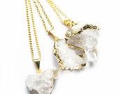 PIXIE Crystal Quartz Drusy Gold plated Pendant