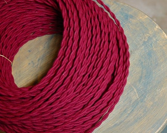 6 Feet: Red Wine/Plum Twisted Cloth Covered Wire, Vintage Style Cloth Lamp Cord, For Hanging Pendants, Trouble Lights etc