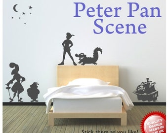 Peter Pan Captain Hook Pirate scene vinyl wall decal sticker