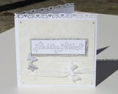 Cream and Silver Butterfly Wedding Card